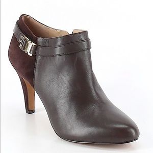 Vince Camuto leather heel booties, brown, size 10
